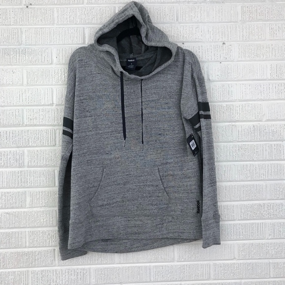 Reebok Melange French Terry Hoodie Gray Rugby S 67da452b5bea3